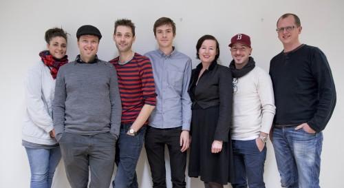 Foto- og videojuryen for Årets bilde 2014. F.v. Agnete Brun, Chris Maluszynski, Joachim Adrian, Adrian Øhrn Johansen, Linn Therese Amundsen, Magnus Wennman og Roar Moltubak.